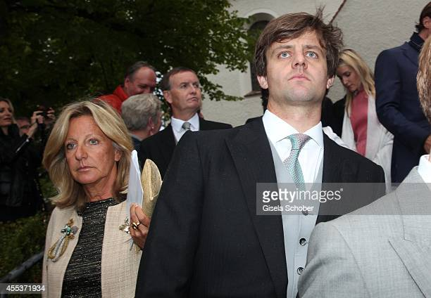 Chantal von Hannover and her son Prince Ernst August von Hannover jr attend the wedding of Maria Theresia Princess von Thurn und Taxis and Hugo...