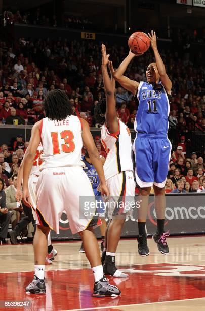 Chante Black of the Duke Blue Devils shoots a jump shot against the Maryland Terrapins at the Comcast Center on February 22 2009 in College Park...