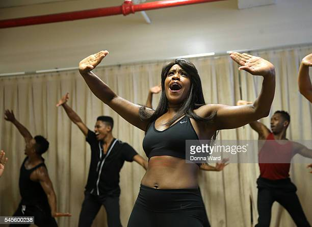 Chante Carmel and The Ensemble perform during the Motown The Musical On Broadway Rehearsals at Chelsea Studios on July 8 2016 in New York City