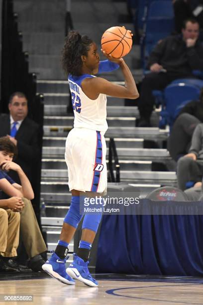 Chante Stonewall of the DePaul Blue Demons takes a jump shot during a women's college basketball game against the Xavier Musketeers at Wintrust Arena...