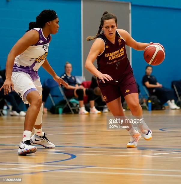 Chantel Charles and Laura Shanahan are seen in action during the Women's British Basketball League between Cardiff Archers and London Lions at...