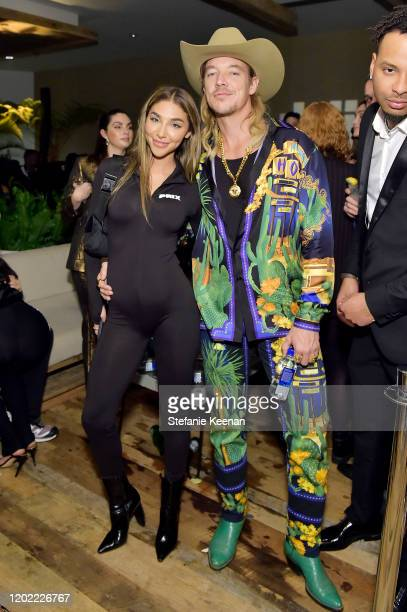 Chantel Jeffries and Diplo attend FIJI Water At Republic Records 2020 Grammy After Party on January 26 2020 in West Hollywood California