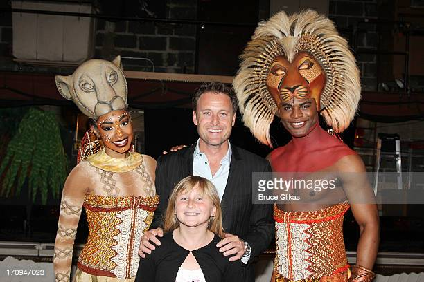 Chantel Riley as Nala The Bachelor/The Bachelorette host Chris Harrison daughter Taylor and Andile Gumbi as Simba pose backstage at Disney's The Lion...