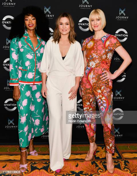 Chantel Riley Julia Stiles and Lauren Lee Smith attend the Photo Call for Ovation at 2019 Winter TCA at The Langham Huntington Pasadena on February...