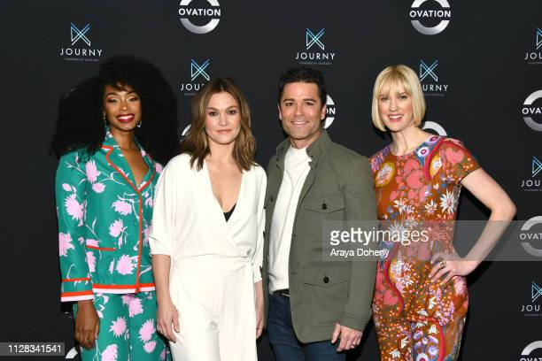 Chantel Riley Julia Stiles Yannick Bisson and Lauren Lee Smith at Ovation Presents Upcoming Programming at 2019 Winter TCA Tour With Julia Stiles...