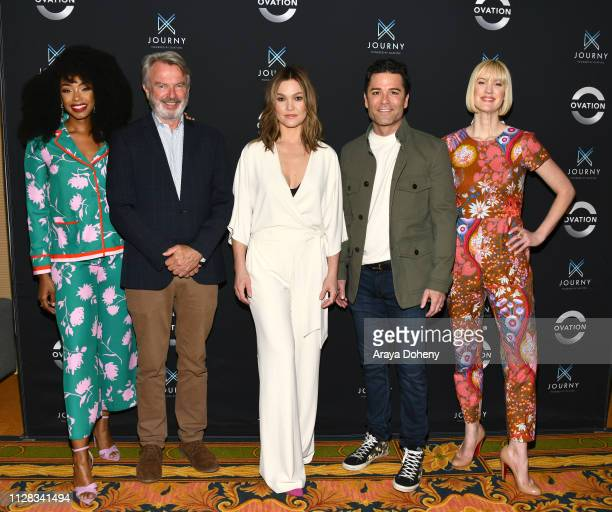 Chantel Riley Sam Neill Julia Stiles Yannick Bisson and Lauren Lee Smith at Ovation Presents Upcoming Programming at 2019 Winter TCA Tour With Julia...