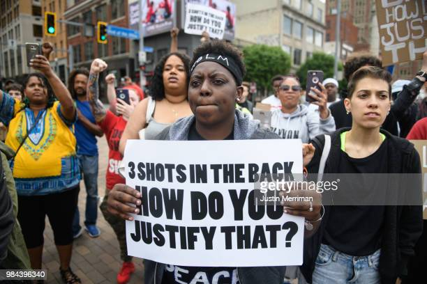 Chantel Wilkerson of Braddock Pennsylvania joins a protest a day after the funeral of Antwon Rose II on June 26 2018 in Pittsburgh Pennsylvania Rose...