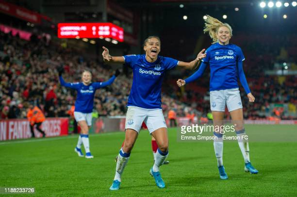 Chantelle BoyeHlorkah and Esme Morgan of Everton celebrate win at the end of the Barclays FA Women's Super League match between Liverpool and Everton...