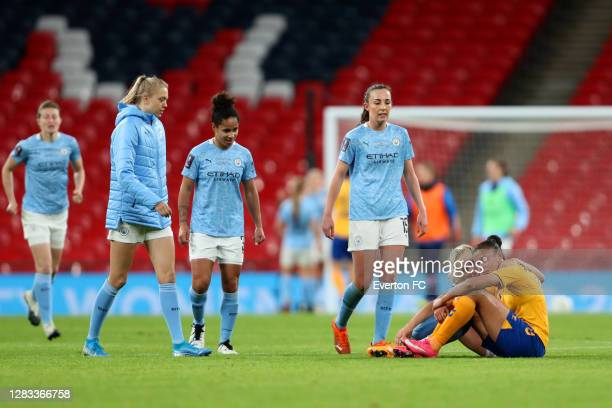 Chantelle Boye-Hlorkah of Everton is consoled by Alex Greenwood of Manchester City following the Vitality Women's FA Cup Final match between Everton...