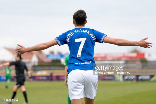 Chantelle BoyeHlorkah of Everton Ladies reacts during the WSL match between Everton Ladies and Yeovil Town Ladies on March 31 2019 in Southport...