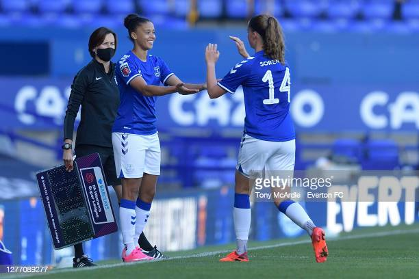 Chantelle BoyeHlorkah of Everton Women as she about to come on for the Women's FA Cup Quarter Final match between Everton and Chelsea at Goodison...