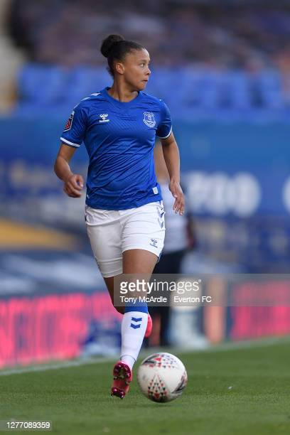 Chantelle BoyeHlorkah of Everton Women during the Women's FA Cup Quarter Final match between Everton and Chelsea at Goodison Park on September 27...