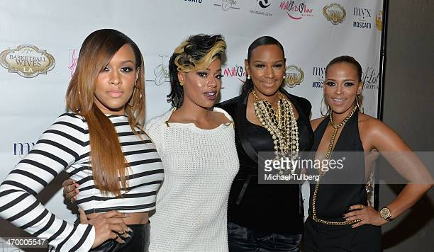 Chantelle Christie and actresses Ariane Davis Jackie Christie and Sundy Carter attend the season premiere party of the reality show Basketball Wives...