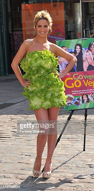Chantelle Houghton launches PETA's New Vegetarian/Vegan Starter Kit at Covent Garden Piazza on March 24 2011 in London England
