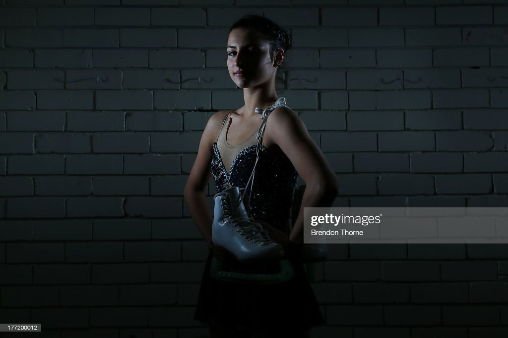 Chantelle Kerry of Australia poses following Skate Down Under at Canterbury Olympic Ice Rink on August 22, 2013 in Sydney, Australia.