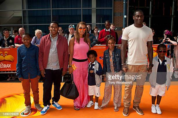 Chantelle Tagoe and Emily Heskey and children attends the UK premiere of Dr Seuss' The Lorax at cineworld on July 22 2012 in Birmingham England