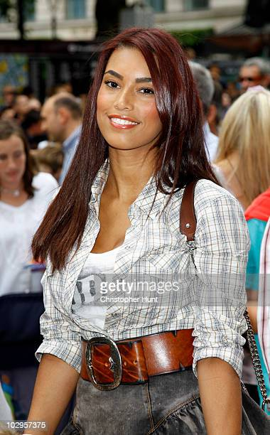 Chantelle Tagoe arrives at the UK film premiere of 'Toy Story 3' at the Empire Cinema Leicester Square on July 18 2010 in London England