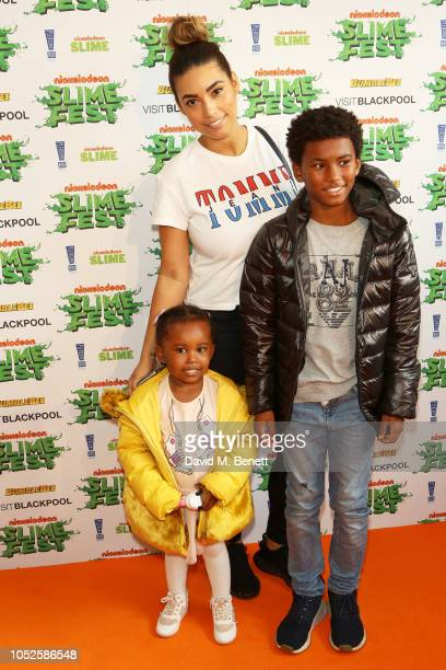 Chantelle Tagoe Reigan Heskey and Milanna Heskey attend 'Nickelodeon SLIMEFEST' at Blackpool Pleasure Beach on October 20 2018 in Blackpool England...