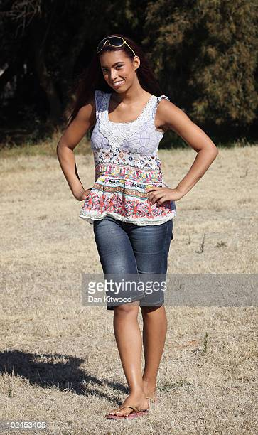 Chantelle Tagoe the fiancee of England international football player Emile Heskey poses for a picture at the Cheetah Experience on June 27 2010 in...
