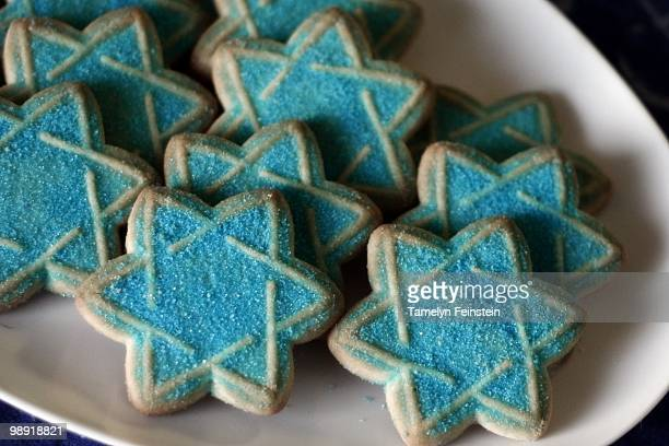 chanukah hanukkah cookies - hanukkah stockfoto's en -beelden