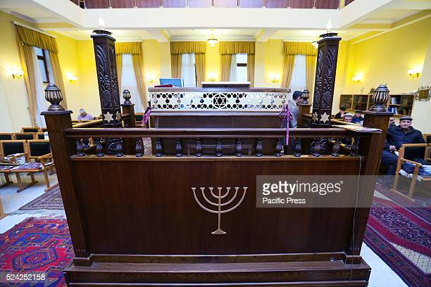 Chanukah lights symbol at the Mountain Jews synagogue in Baku Mountain Jews speak their own dialect called JudeoTat and are believed by some to be...