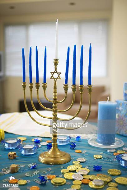 chanukah menorah - dreidel stock photos and pictures