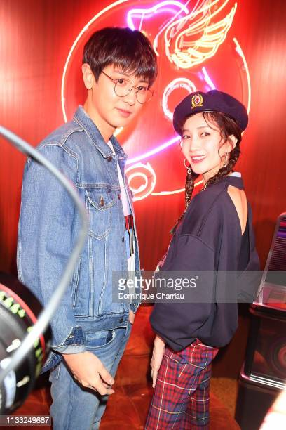 Chanyeol and Maggie Jiang the Tommy Hilfiger TOMMYNOW Spring 2019 TommyXZendaya Premieres at Theatre des ChampsElysees on March 02 2019 in Paris...