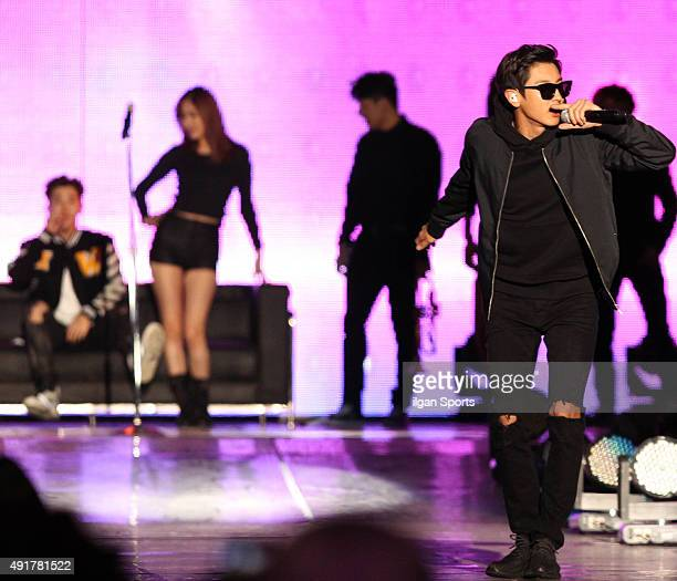 Chanyeol of EXO performs onstage during the 2015 Gangnam Hanryu Festival at Yeongdongdaero on October 4 2015 in Seoul South Korea