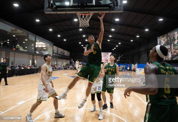 Chao Hao Chen of Taiwan Beer made a layup shot during the SBL Finals Game Six between Taiwan Beer and Yulon Luxgen Dinos at Hao Yu Trainning Center...