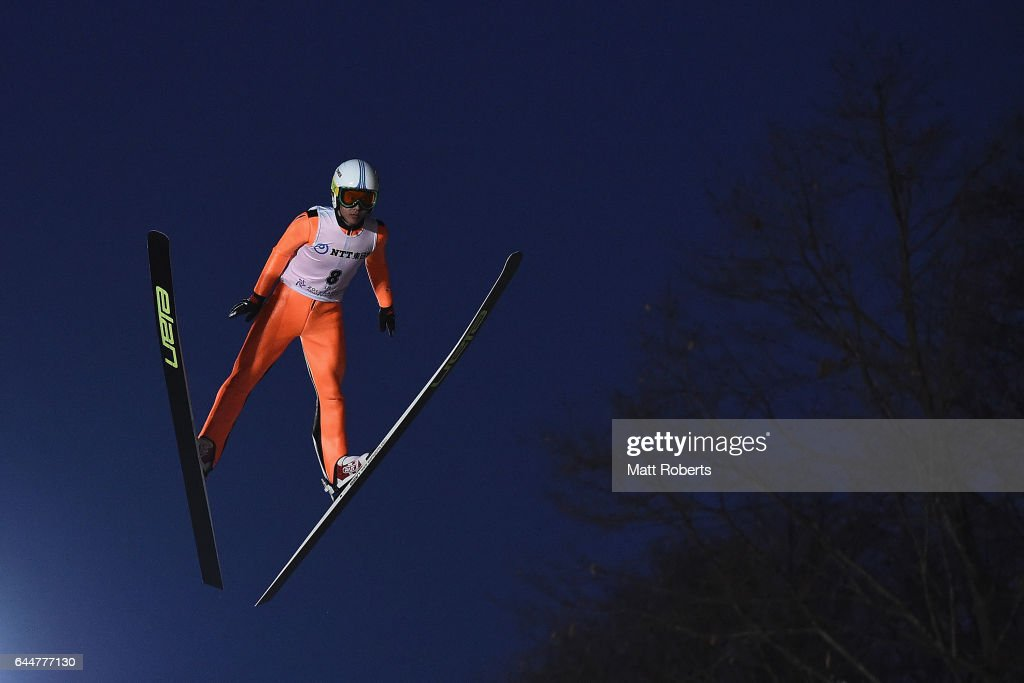 Chao Li of China competes in the men's ski jumping large hill individual on day seven of the 2017 Sapporo Asian Winter Games at Okurayama Ski Jump Stadium on February 24, 2017 in Sapporo, Japan.