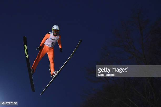 Chao Li of China competes in the men's ski jumping large hill individual on day seven of the 2017 Sapporo Asian Winter Games at Okurayama Ski Jump...