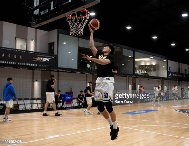 Chao Nan Kuo of Yulon Luxgen Dinos practice prior to the SBL Finals Game Six between Taiwan Beer and Yulon Luxgen Dinos at Hao Yu Trainning Center on...