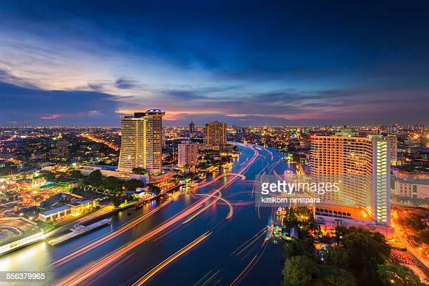 Chao phraya river during twilight time