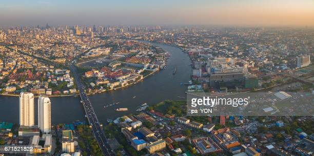 chao phraya river with pinklao bridge, siriraj hospital, grandpalace - siriraj hospital stock pictures, royalty-free photos & images