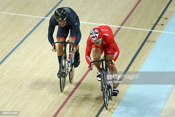 Chao Xu of China and Callum Skinner of Great Britain compete in the Men's Sprint Quarterfinal Race 1 on Day 8 of the Rio 2016 Olympic Games at the...