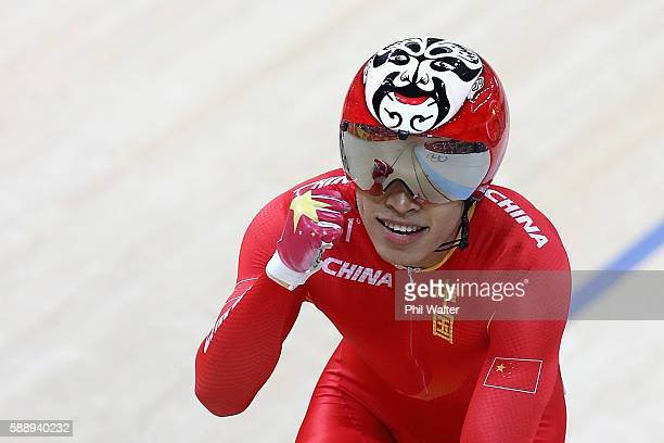 Chao Xu of China celebrates winning against Njisane Phillip of Trinidad and Tobago in the Men's Sprint 1/16 Finals on Day 7 of the Rio 2016 Olympic...