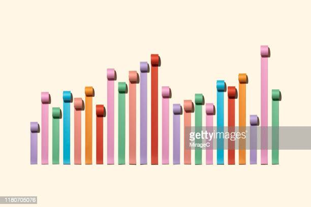 chaos bar chart made of paper rolls - business strategy stock pictures, royalty-free photos & images