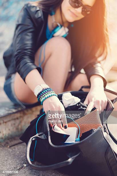 chaos in my bag - clutch bag stock pictures, royalty-free photos & images