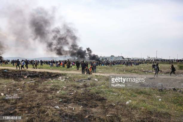 Chaos with clashes between refugees migrants and the police Migrants tried to march to the Northern Greek borders after a false rumor of open borders...