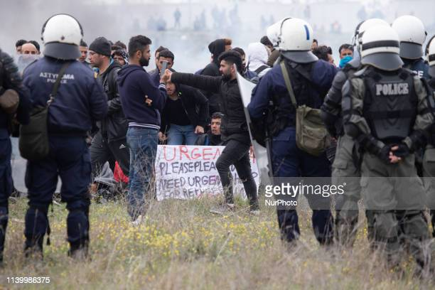 Chaos with clashes between refugees migrants and the police Refugees tried to march to the Northern Greek borders after a false rumor of open borders...