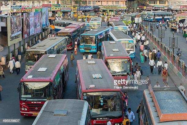 Chaotic bus traffic at Kempegowda Bus Station, more commonly known as Majestic Bus Station.