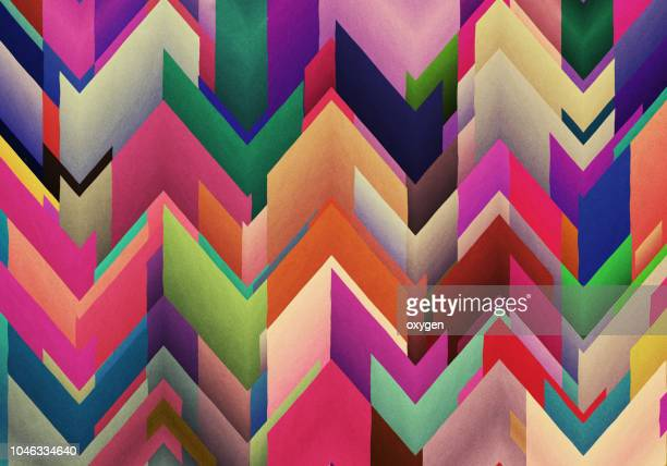 chaotic colorful zigzag abstract background - motivo ornamentale foto e immagini stock