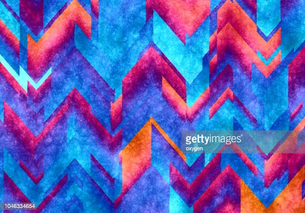 chaotic colorful zigzag abstract background - multi colored background stock pictures, royalty-free photos & images