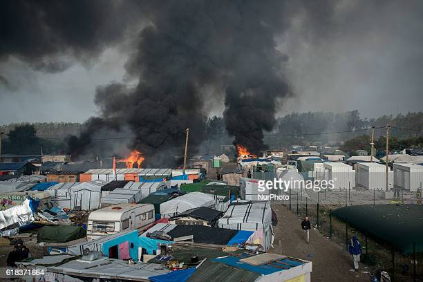 Chaotic scenes of the jungle after many fires being set up in Calais France on 26 October 2016 During the whole day fires were set up all around the...