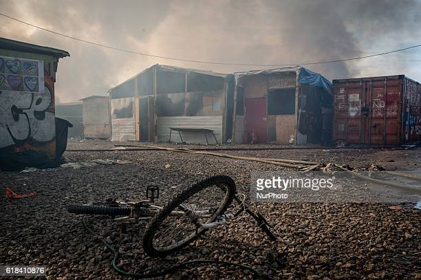 Chaotic scenes of the jungle as the camp is evacuated because of the danger from all the fires in Calais France on 26 October 2016 Around one o clock...