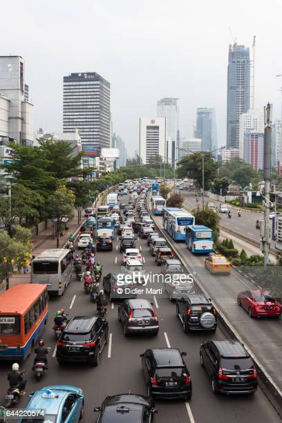 Chaotic traffic in Jakarta business district, Indonesia capital city.