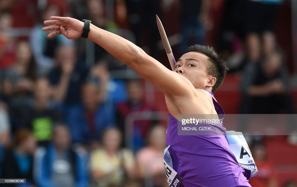 Chao-Tsun Cheng of Taiwan from Team Asia and Pacific competes during the Javelin Throw Men race at the IAAF Continental Cup on September 9, 2018 in Ostrava.