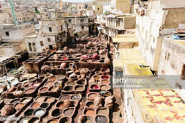 chaouwara tanneries, fez, morocco - christine wehrmeier stock photos and pictures