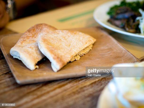Chapati Bread on Wood Plate