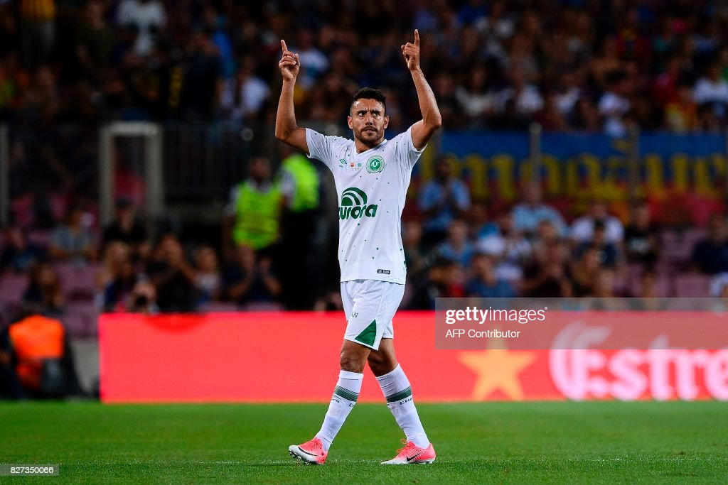 Chapecoense's defender Alan Ruschel gestures during the 52nd Joan Gamper Trophy friendly football match between Barcelona FC and Chapecoense at the Camp Nou stadium in Barcelona on August 7, 2017. Funds raised from the match will 'help Chapecoense rebuild institutionally and recover the competitive level it had before the tragedy', Barca said in a statement as the Brazilian side still reeling from a devastating plane crash that killed 19 players and 24 club officials last year. / AFP PHOTO / Josep LAGO